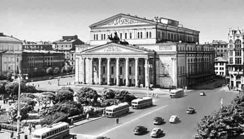 Bolshoi Theater.  The theater building.  1821-24.  Osip Bove, A. Mikhailov.  Rebuilt in 1855-56 AK Kavos.