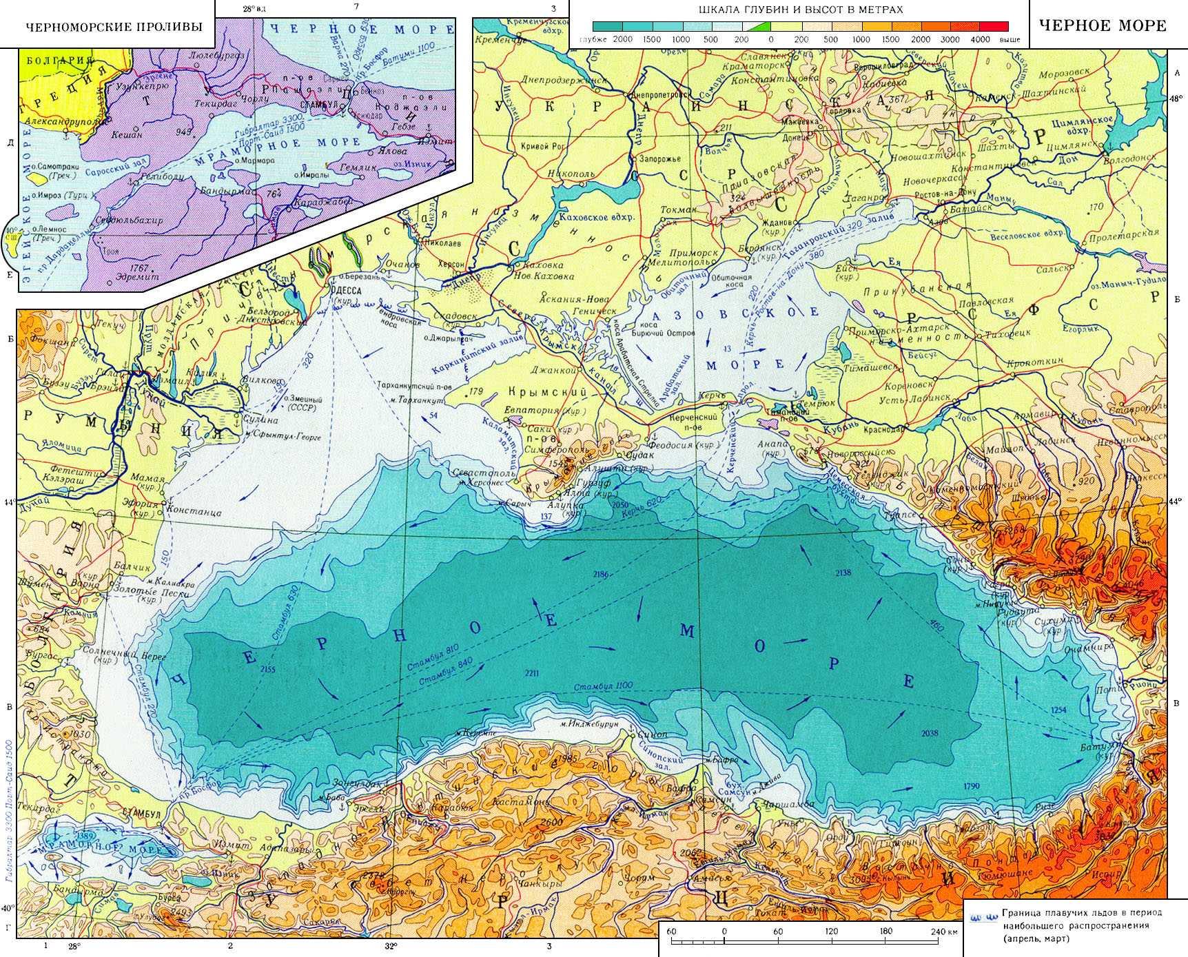 Физическая карта черного моря
