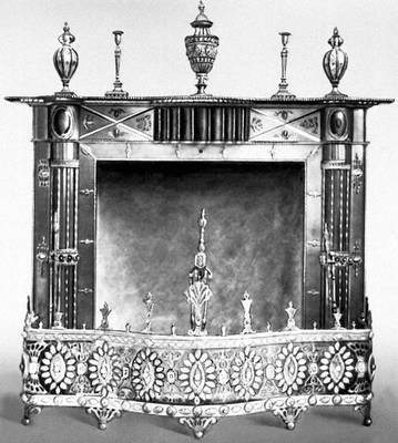 Декоративно-прикладное искусство. Камин. Сталь и золочённая медь. Тула. Конец 18 в. Музей Виктории и Альберта. Лондон.