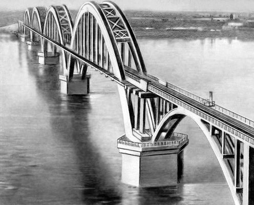Железнодорожный арочный мост.