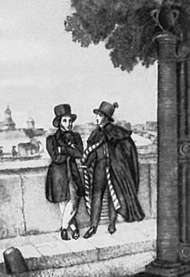 Пушкин и Онегин. Гравюра Е. Гейтмана с рисунка А. Нотбека. 1829.