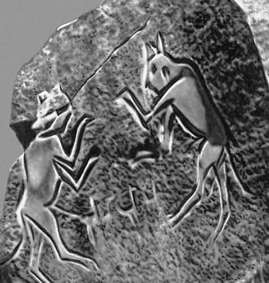 «Леопарды». Наскальный рельеф в Феццане (Ливия). Неолит (?).