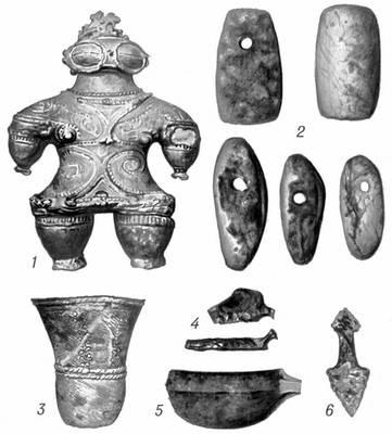 Вещи культуры Дзёмон: 1 — глиняная женская статуэтка; 2 — каменные шлифованные топоры; 3 — сосуд с верёвочным орнаментом; 4 — каменные скребки с головкой; 5 — деревянный ушат; 6 — каменный наконечник копья.