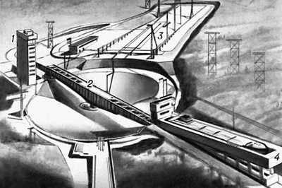 Наклонный судоподъёмник Красноярского гидроузла (перспективное изображение): 1 — здание диспетчерского пульта; 2 — поворотное устройство; 3 — монтажно-ремонтная площадка; 4 — судовозная камера с судном.