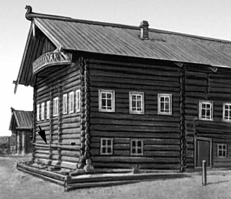 В России с конца 17 в. строились деревянные избы...  Дом с подклетом (указан стрелкой) в деревне Городецк (Поганца)...
