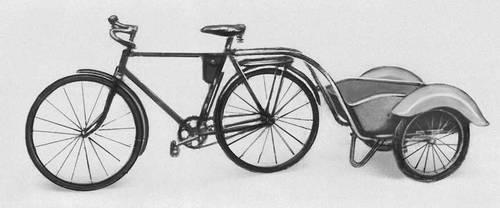 двухместный двухколесный велосипед с двойной сблокированной передачей