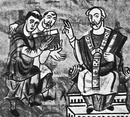 Рабан Мавр, которого ведёт Алкуин, преподносит архиепископу Майнца своё сочинение. Миниатюра «Фульдского кодекса». Австрийская национальная библиотека. Вена.