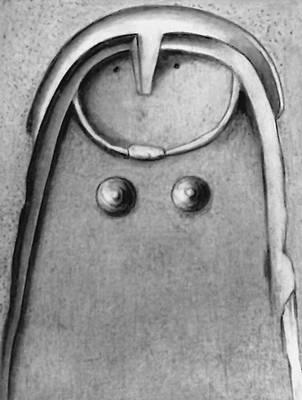 Схематическое изображение женщины. Пещерный рельеф. Неолит. Круазар. Департамент Марна. Франция.