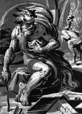 """Цветная обрезная гравюра на дереве (""""кьяроскуро"""") по рисунку Ф. Пармиджанино. 1527."""