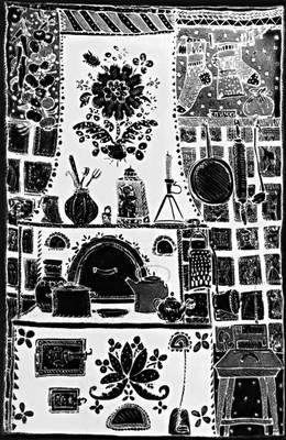 Роспись батиком. Панно «Народное». 1968. Художник Т. С. Воронецкая.