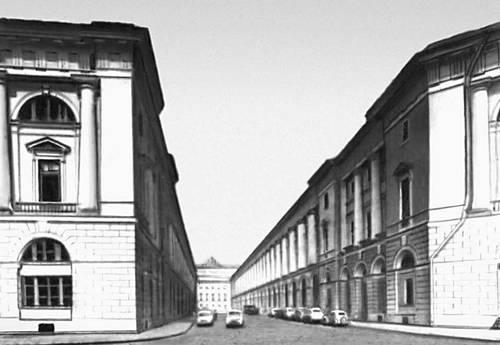 К. И. Росси. Театральная улица (ныне улица зодчего Росси) в Ленинграде. 1828—34.