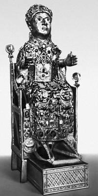 Статуя Святой веры. Дерево, золото, драгоценные камни. 10 в. Сокровищница монастыря в Конке (Франция).