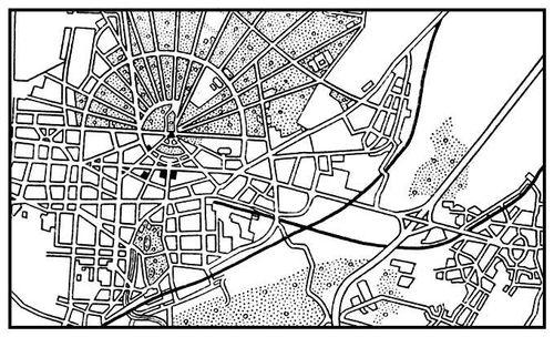 Карлсруэ. План застройки. Основное строительство с 1715.