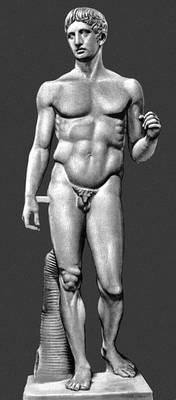 """Скульптура высокой и поздней классики. Поликлет. """"Дорифор"""". Ок. 440 до н. э. Римская копия."""
