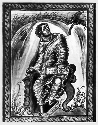 «Евангелист Марк». Миниатюра в «Евангелии Эббо». Около 816—835. Городская библиотека. Эперне (Франция).