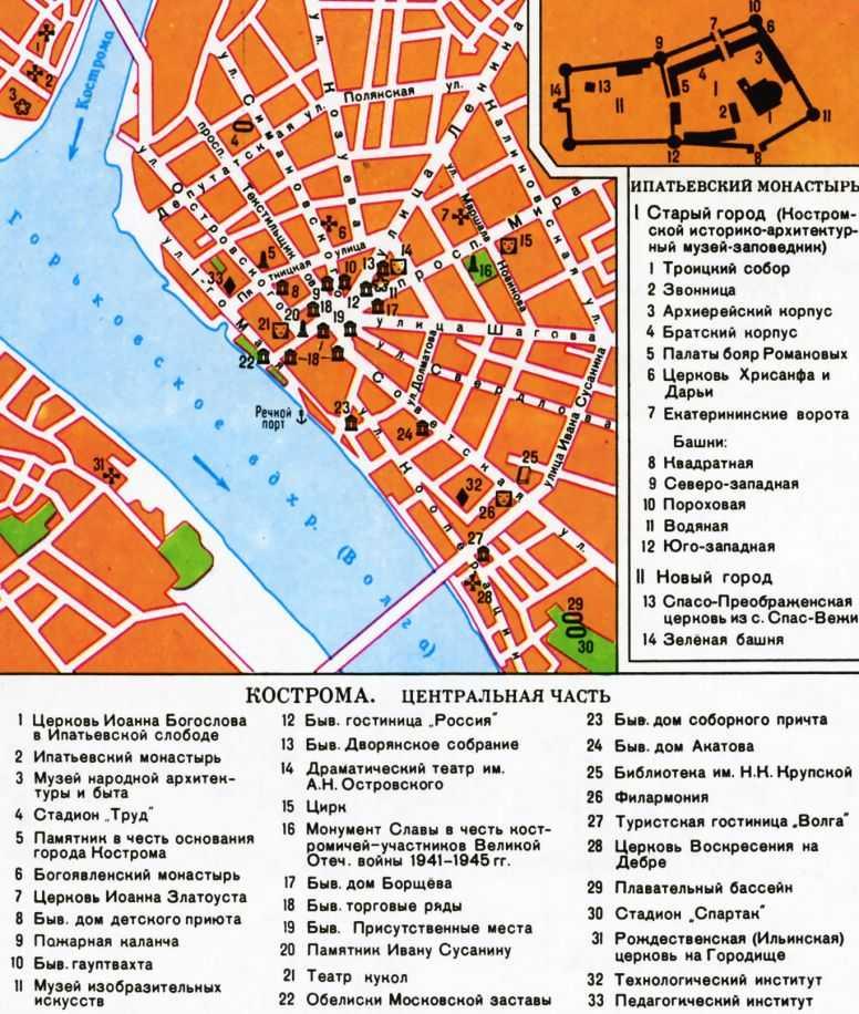 Схема центра города.