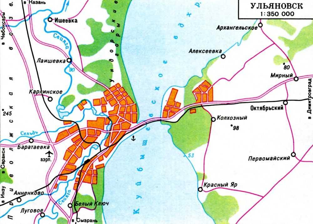 Подробная карта окрестностей Ульяновска.