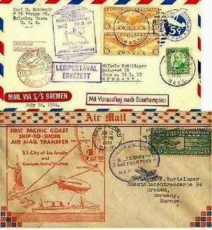 Конверты катапультной почты (Германия, США)