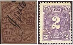 Почтовые марки Антьокия. Слева: штат Соединенных Штатов Колумбии, справа: провинция Колумбии