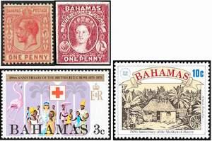 Почтовые марки Багамских о-вов. Вверху - колония Британии. Внизу - самоуправление (с 1964 г.) и независимость.