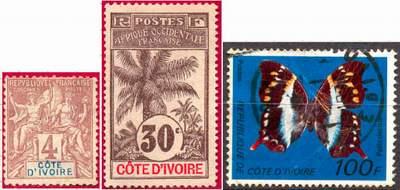 Почтовые марки Берега Слоновой Кости. Первая и вторая - колония Франции, последняя - независимая республика