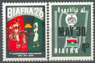 Почтовые марки Биафры