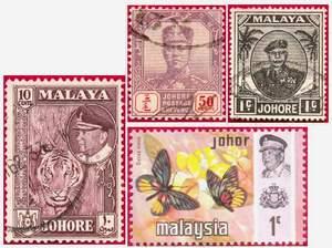 Почтовые марки Джохора.