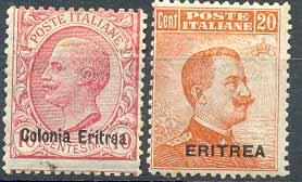 Почтовые марки Эритреи. Колония Италии (Надпечатки на марках Италии)