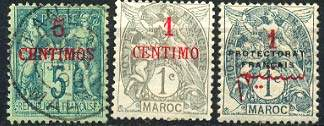 Почтовые марки Французской почты в Марокко