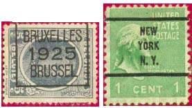 Гашение предварительное на почтовых марках США, Бельгии