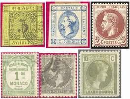 Почтовые марки классического периода (слева направо: Баден, Италия, Франция, Монако, Румыния, Люксембург)