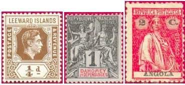 Почтовые марки колониального типа (слева направо: Подветренных о-вов, Дагомеи, Анголы)