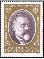 Почтовая марка Австрии с портретом Ловренца Кошира