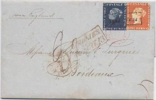 «Маврикий розовый» и «Маврикий голубой» на конверте