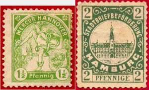 Марки частной почты Германии. Ганновер. Гамбург.