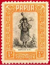 Почтовая марка Британской Папуа, выполненная способом металлографии