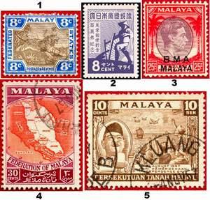 Почтовые марки Малайи 1 - Малайя. Центр: Куала-Лумпур. Колония Великобритании 2 - Оккупация Японией 3 - Британская военная администрация, 1945-1948 гг. 4 - Союз Малайской Федерации, 1948-1957 гг. 5 - независимая Малайя с 1957 г.