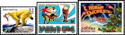 Коммеморативные марки. США, Бурунди, Россия.