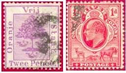 Почтовые марки Оранжевого Свободного государства и британской колонии Оранжевой реки