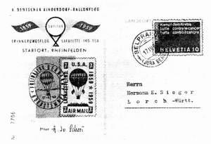 Карточка аэростатной почты (Польша)