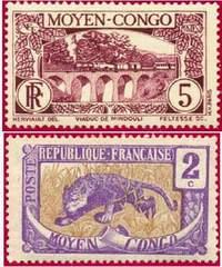 Почтовые марки Среднего Конго