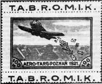 Выпуск полуофициальный — специальная марка для дополнительной оплаты доставки авиапочтовых отправлений в 1921 г. с Познанской ярмарки (Польша)