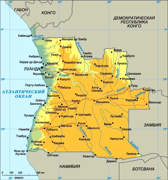 Ангола. Столица - Луанда. Население - 10,9 млн. человек (1997). Плотность - 8,8 человек на 1 кв. км. Городское население - 32%, сельское - 68%. Площадь - 1246,7 тыс. кв. км. Самая высокая точка - гора Моко (2620 м). Основные языки: португальский (официальный), киконго, кимбунду, умбунду. Основные религии: католицизм, протестантизм, местные традиционные верования. Административное-территориальное деление - 18 провинций. Денежная единица: кванза = 100 лвеи. Государственный праздник: День независимости - 11 ноября.