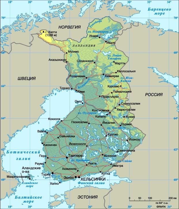 Финляндия. Столица - Хельсинки. Население - 5,1 млн. человек (1998). Плотность населения - 15 человек на 1 кв. км. Городское население - 71%, сельское - 29%. Площадь - 338 145 кв. км. Самая высокая точка - гора Халтиа (1328 м). Официальные языки - финский и шведский. Преобладающая религия - лютеранство. Административно-территориальное деление: 6 губерний (ляни). Денежная единица: марка = 100 пенни. Национальный праздник: День независимости - 6 декабря. Государственный гимн: Наша страна.