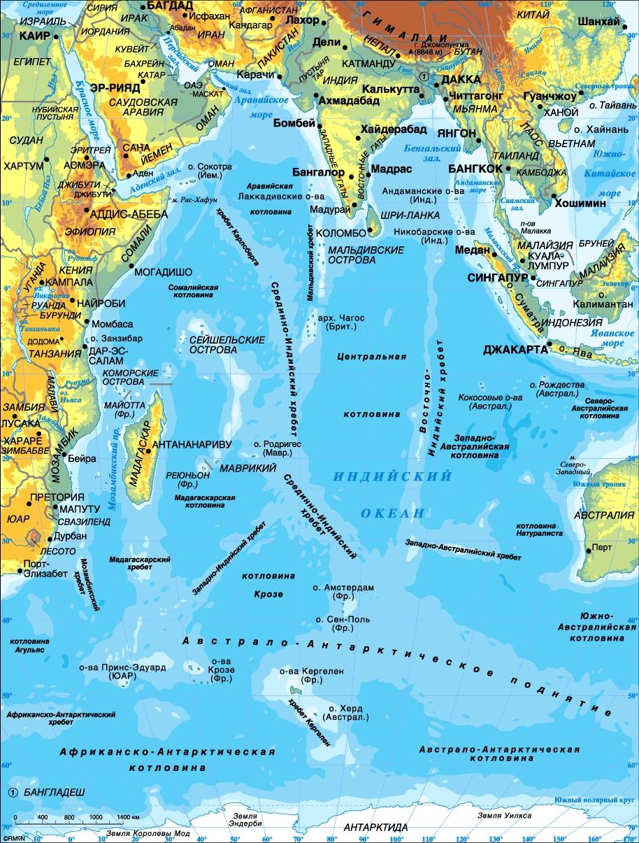 Карта индийского океана