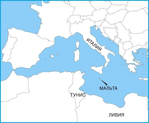 На карте Средиземноморья