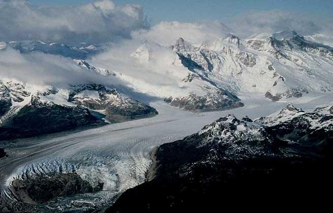 КРУПНЫЙ ДОЛИННЫЙ ЛЕДНИК с ледниками-притоками на Огненной Земле.
