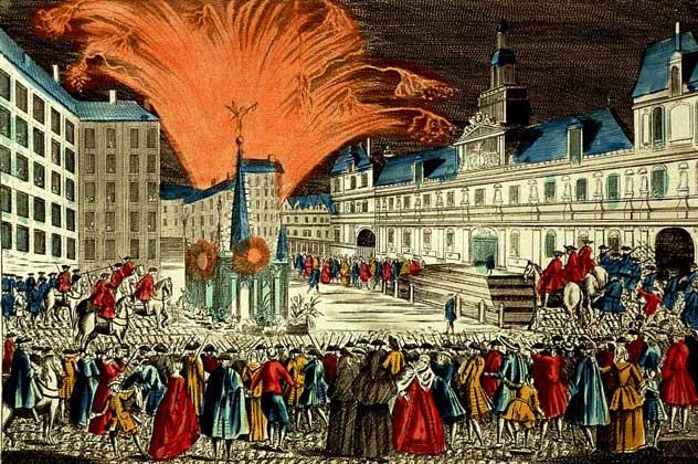 ФЕЙЕРВЕРК в Париже по случаю окончания Семилетней войны (1763).