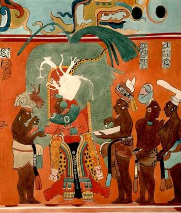 ФРЕСКА, изображающая церемонию посвящения в сан жреца (Бонампак, Мексика).