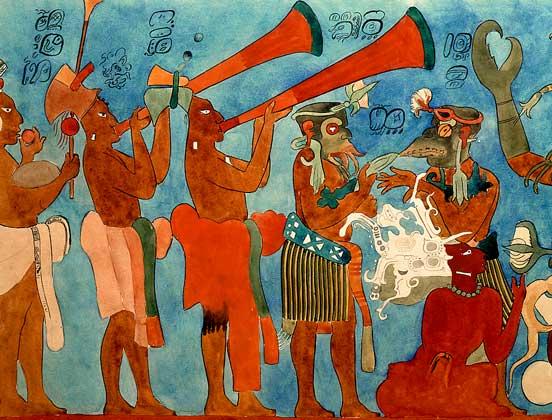 ИСКУССТВО МАЙЯ. Великолепные образцы сохранившейся фресковой живописи обнаружены в одном из храмов города Бонампак в мексиканском штате Чьяпас.